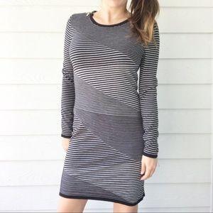 Michael Kors Gray Striped Bodycon Sweater Dress